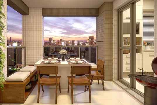 Imagem meramente ilustrativa da varanda integrada á cozinha e ao living
