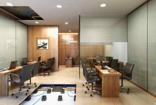 Imagem Ilustrativa de sala decorada de 50 m² - detalhe para a infraeestrutura de piso elevado